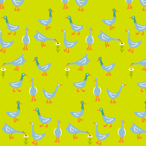 ducks_neon firefly yellow fabric by kheckart on Spoonflower - custom fabric