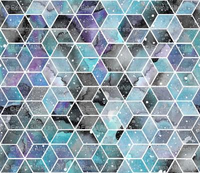 Blue Watercolour Space Hexagons - smaller scale