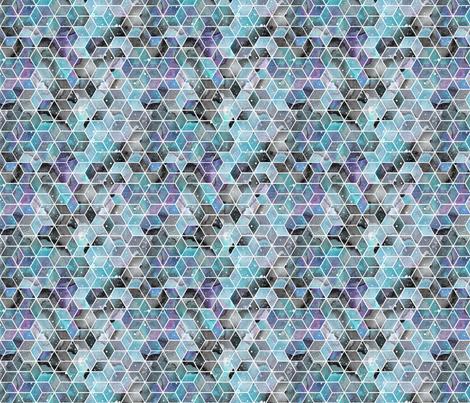 Blue Watercolour Space Hexagons - smaller scale fabric by emeryallardsmith on Spoonflower - custom fabric
