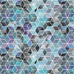 Blue Watercolour Space Hexagons - smaller scale