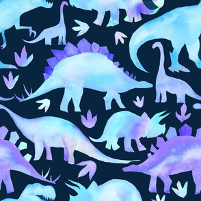 Blue Dinosaurs Dark Blue background