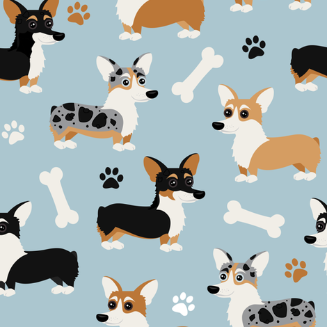 Corgi Dogs Blue fabric by jannasalak on Spoonflower - custom fabric