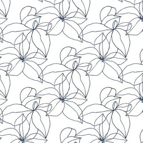 Floral Line Drawing in Navy and White