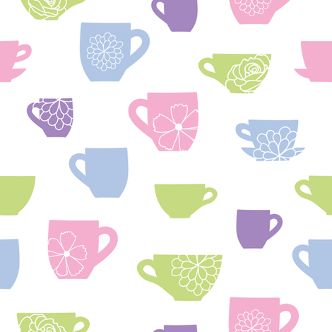 Cute floral teacups pattern fabric by oksancia on Spoonflower - custom fabric