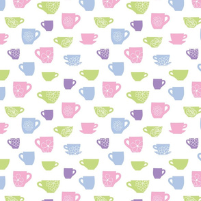 Cute floral teacups pattern