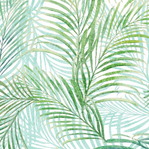 Breezy Palms Soft Green on White 150
