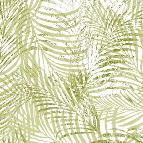 Batik Palms Light Olive on White 150