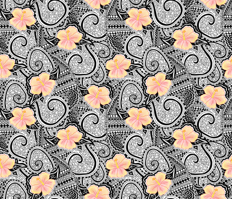 Hibiscus Tribal. Yellow and orange hibiscus flowers on a black and white tribal. Ethnic pattern. Tattoo pattern. Hawaiian print. fabric by sandra_hutter_designs on Spoonflower - custom fabric