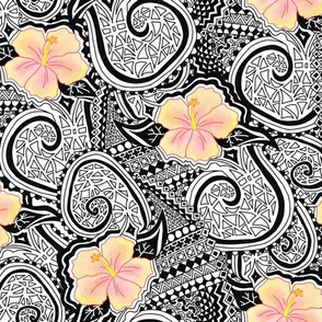 Hibiscus Tribal. Yellow and orange hibiscus flowers on a black and white tribal. Ethnic pattern. Tattoo pattern. Hawaiian print.
