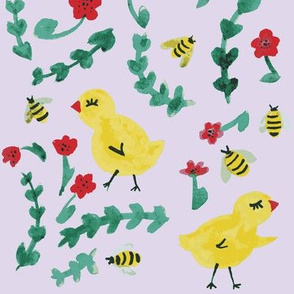 Chick Chicks bees & flowers pale lilac