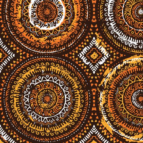 Fiery sun african motif fabric by penguinhouse on Spoonflower - custom fabric