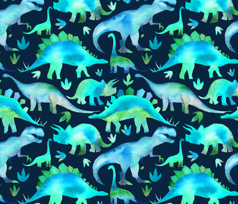 Blue and green dinosaurs - blue background fabric by emeryallardsmith on Spoonflower - custom fabric