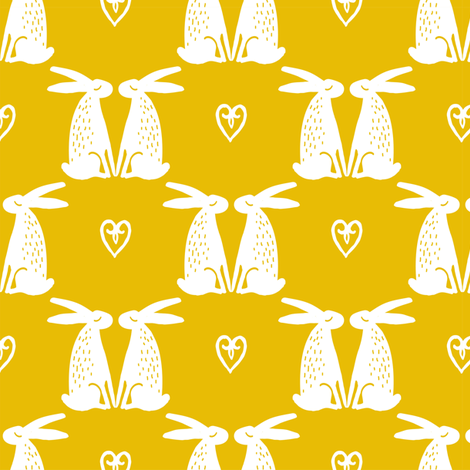 Bunny Love // Mustard fabric by hipkiddesigns on Spoonflower - custom fabric