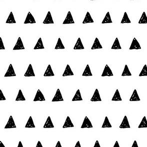 Black Triangle Doodles - Hand Drawn Geometric Inky Monochrome Black and White Baby Nursery Kids Children