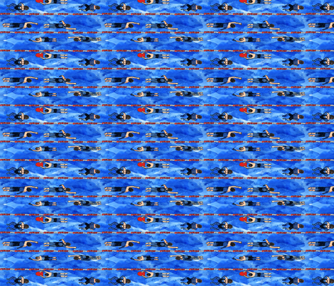 Bigger Swimmers Swimming Laps fabric by eileenmckenna on Spoonflower - custom fabric