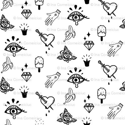 Tattoo hipster love design