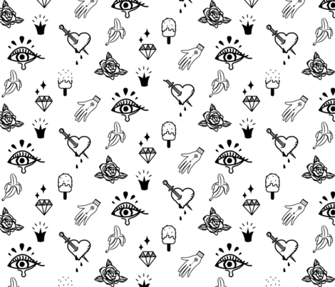 Tattoo hipster love design fabric by yopixart on Spoonflower - custom fabric