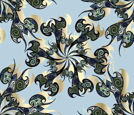 Tattoo Flowers on light sky blue fabric by pearlposition on Spoonflower - custom fabric