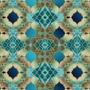 Marrakesh on emerald mint blue