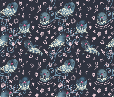 a walrus with a flower tattoo fabric by lapinecurieuse on Spoonflower - custom fabric