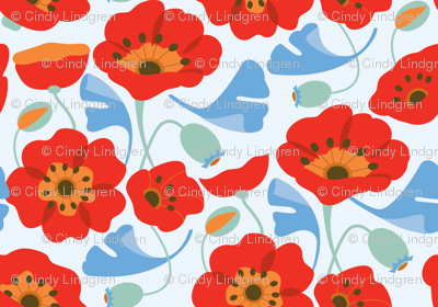 Red Poppy Ginkgo, Large