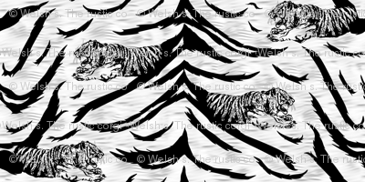 Tribal Tiger stripes print - faux fur white medium
