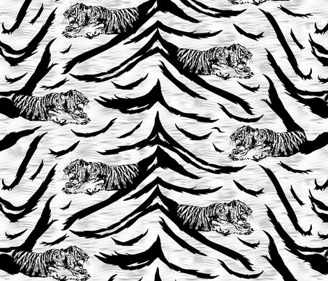 Tribal Tiger stripes print - faux fur white medium fabric by rusticcorgi on Spoonflower - custom fabric