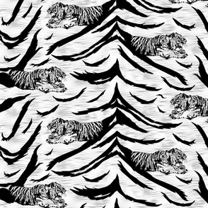 Tribal Tiger stripes print - faux fur white medium