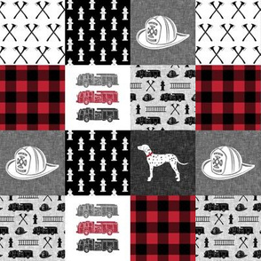 """(2"""" small scale) firefighter wholecloth - patchwork - red and black"""