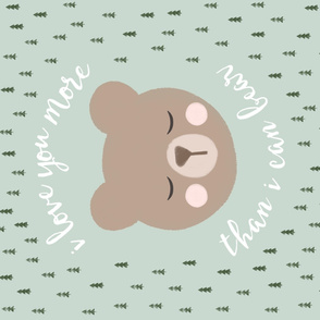 "42"" 1 yard -  I love you more than I can bear - light green"
