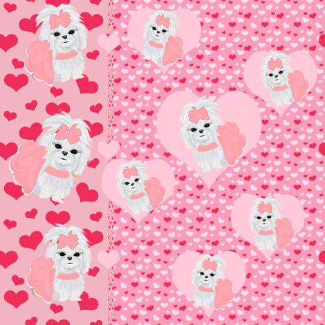 Maltese Hearts & Stripes fabric by sherry-savannah on Spoonflower - custom fabric