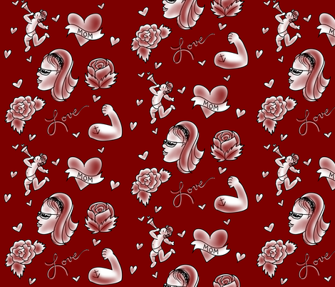 valentine tattoos fabric by samanthabender on Spoonflower - custom fabric
