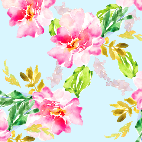 Pink Watercolor Peony Wonder on Blue  fabric by angiemakes on Spoonflower - custom fabric