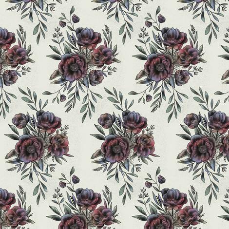 Floral Ink Tattoo fabric by tarynosaurus on Spoonflower - custom fabric