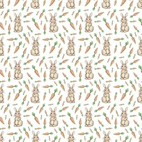 Tiny Carrot and Bunny Love on white