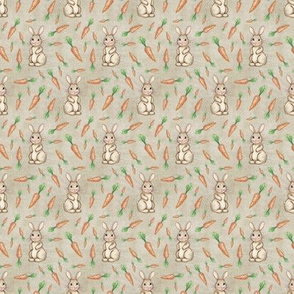Tiny Carrot and Bunny Love on canvas