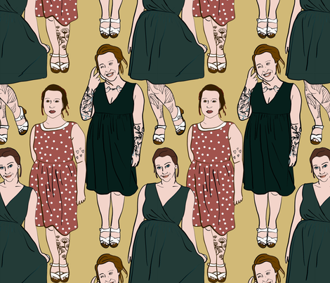 Girls with Tats fabric by driessa on Spoonflower - custom fabric