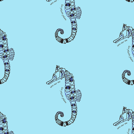 save our sea, less plastic sea horse on blue fabric by samantha_woodford on Spoonflower - custom fabric