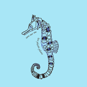 save our sea, less plastic sea horse on blue