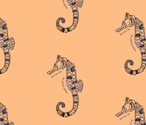 tattoo sea horse on skin colour fabric by seahouse_uk on Spoonflower - custom fabric