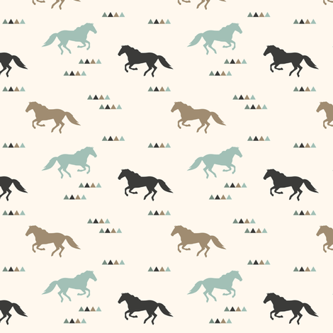 (small scale) wild horses fabric by littlearrowdesign on Spoonflower - custom fabric