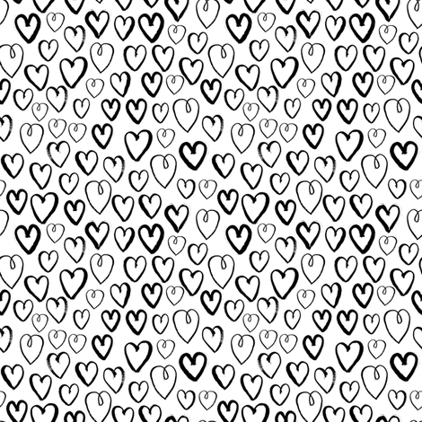 hearts (Small) // black and white hand-drawn gender neutral cool trendy scandinavian inspired black and white kids design fabric by andrea_lauren on Spoonflower - custom fabric