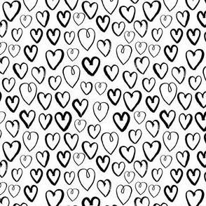 hearts (Small) // black and white hand-drawn gender neutral cool trendy scandinavian inspired black and white kids design