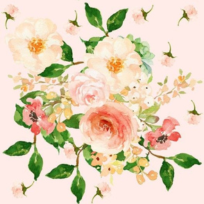 "10.5"" Floral Peach Delight - Background color #ffebe8"