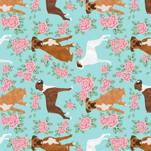 Boxer (RR) dog florals fabric pattern rose