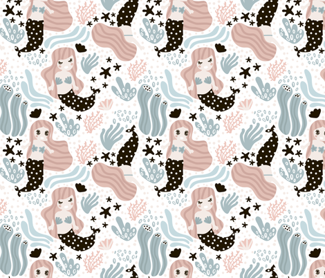 Marmaids party fabric by solmariart on Spoonflower - custom fabric