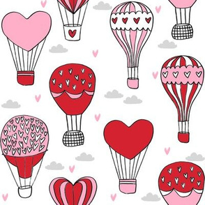 valentines hot air balloon // cute hearts balloons fabric nursery baby white red