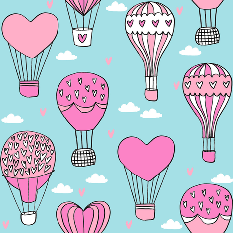 valentines hot air balloon // cute hearts balloons fabric nursery baby blue fabric by andrea_lauren on Spoonflower - custom fabric