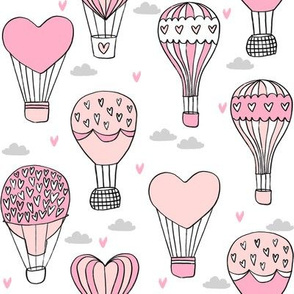 valentines hot air balloon // cute hearts balloons fabric nursery baby white pink