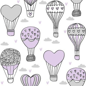 valentines hot air balloon // cute hearts balloons fabric nursery baby white lavender